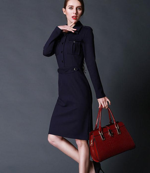 Fashion Ladies Style Elegant Slim Lapel Long Dress - lilyby