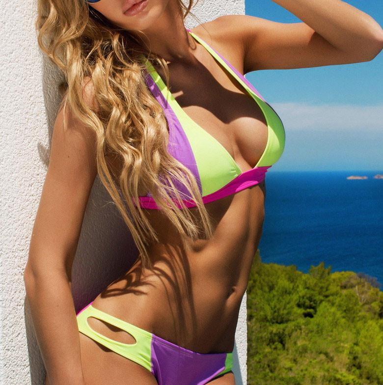 Light Purple and Light Fluorescent Color Bikini Bandage Bikini Set Swimsuit - lilyby