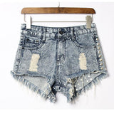 Summer Sexy High Waist Denim Shorts Jeans Women Plus Size Hot Rivet Shorts For Big Sale!- Fowish.com