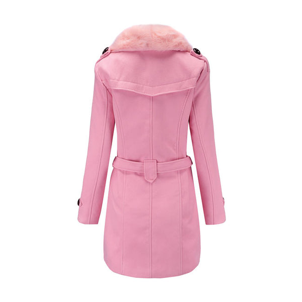 Unique Hairy Fur Collar Double Button High Collar Winter Warm Women Coat