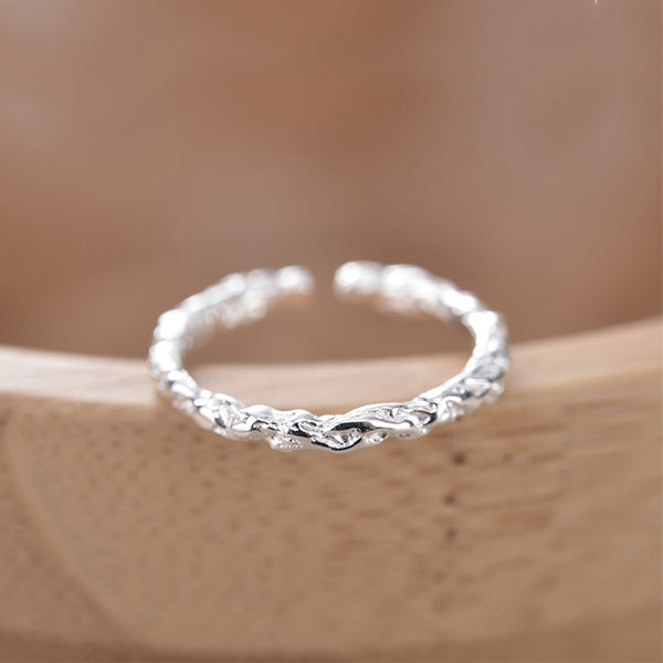 Leisure Gift Emboss Open Lover Silver Ring
