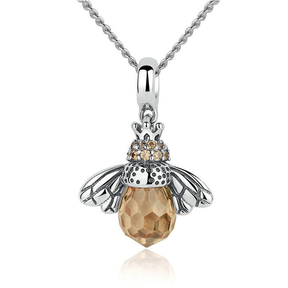 Cute Crystal Bee Pendant Animal Necklace Silver Women Necklace
