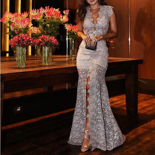 Elegant Hollow Deep V Slim Prom Dress Lace Party Split Long Dress