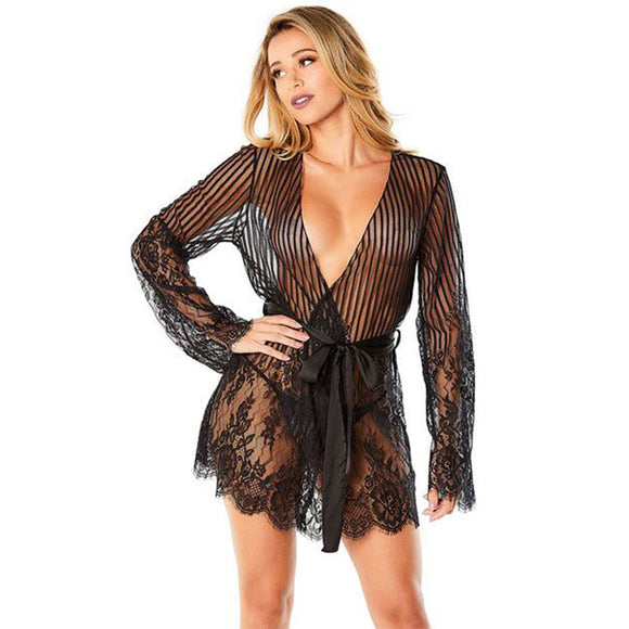 Sexy Long Sleeves Flower Nightdress Eyelash Lace Women Intimate Lingerie