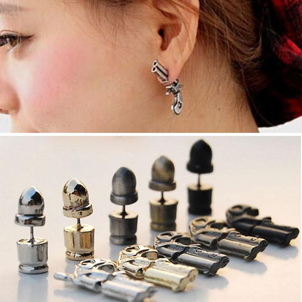 Punk Plated Gun Bullet Woman Killer Stud Earrings - lilyby