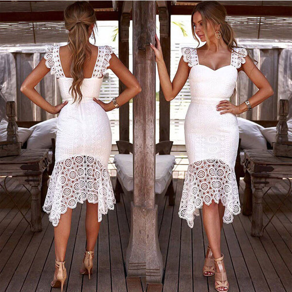 Fresh White Hollow Lace Summer Sling Slim Dress