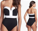 One-piece Sexy Contrast Color Bikinis Set Push Up Swimwear Beach Bathing Suit - lilyby