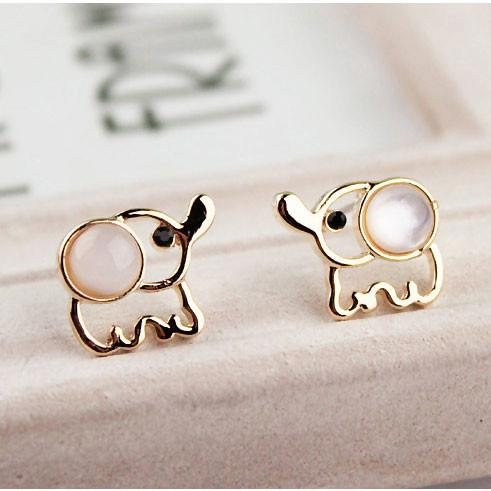 Fashion Opal Elephant Earrings Studs - lilyby
