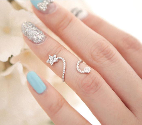Unique Bright Rhinestone Flower Spiral Pentagram Ring For Big Sale!- Fowish.com