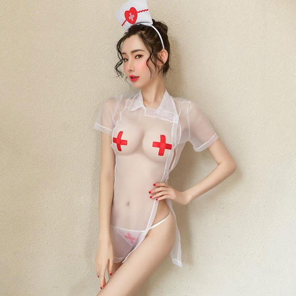 Sexy Temptation Mesh See-Through Nightdress Nurse Cosplay Uniform  Female Lingerie