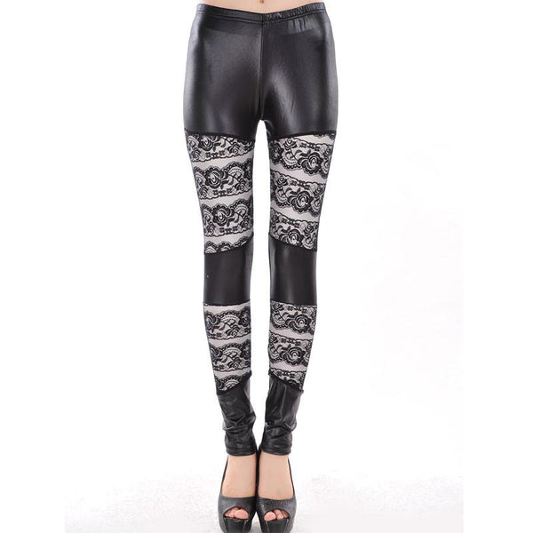 Sexy Rose Lace Stitching Slim Leather Leggings For Big Sale!- Fowish.com