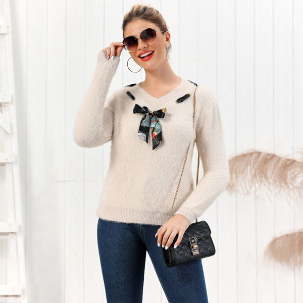 Leisure Bow Pure Color Fluff Slim Bottoming Long-sleeve Cardigan Knit V-neck Women Sweater