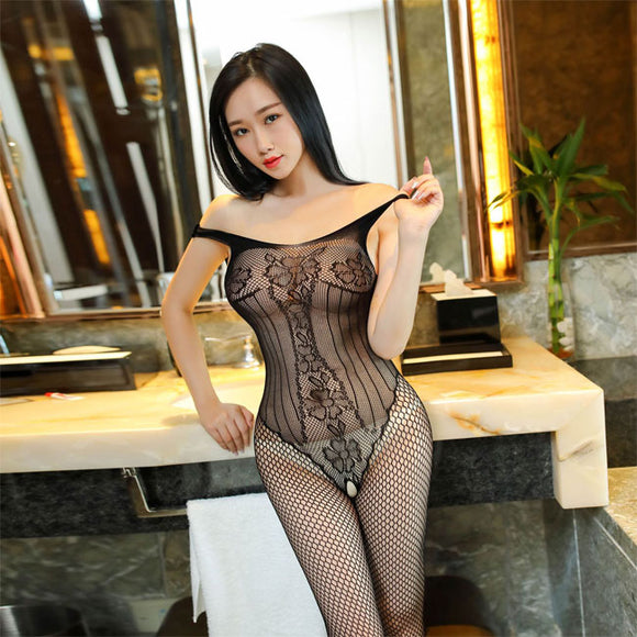 Sexy Fishnet Mesh Conjoined Stockings Underwear Hollow Vest Siamese Intimate Lingerie