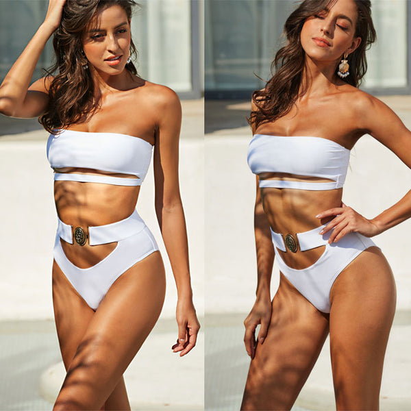 Sexy Mix Color Bikini Metal Button Bandeau Bandage Black White Summer Swimsuit