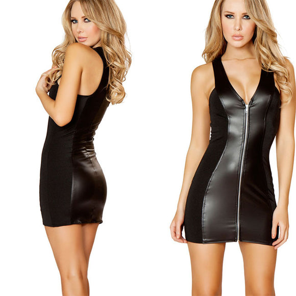 Sexy Nightclub Zipper Temptation Nightdress Patent Leather Dress Intimate Women Lingerie