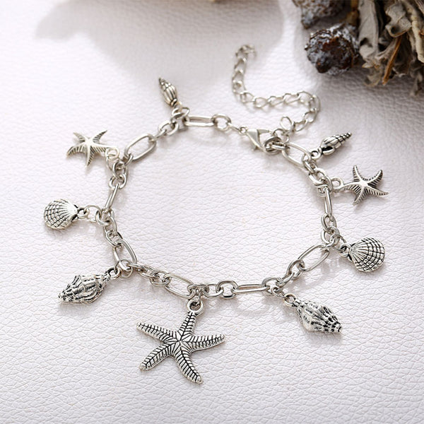 Retro Starfish Conch Shell Foot Jewelry Summer Anklet