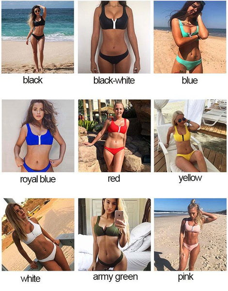 Sexy Women's Chest Zipper Swimsuit Two Sets Bikinis Summer Swimwear For Big Sale!- Fowish.com