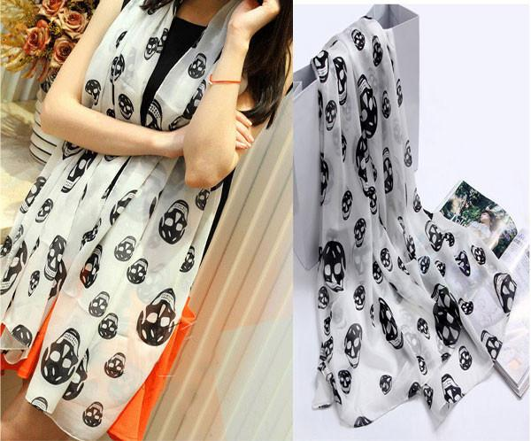 Cheap Unique Skull Printed Voile Infinity Scarf - lilyby