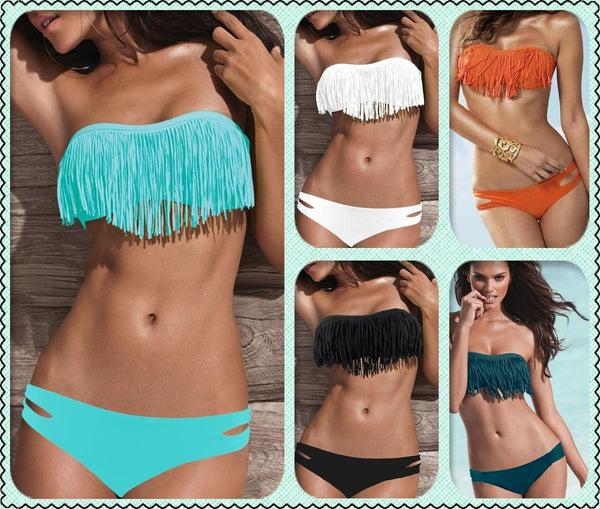 Sexy Tassel Bikini  Swimsuit Swimwear For Big Sale!- Fowish.com