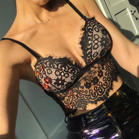 Sexy  Camisoles Bras Intimate Ultra-thin Sling Eyelash Lace Women Lingerie