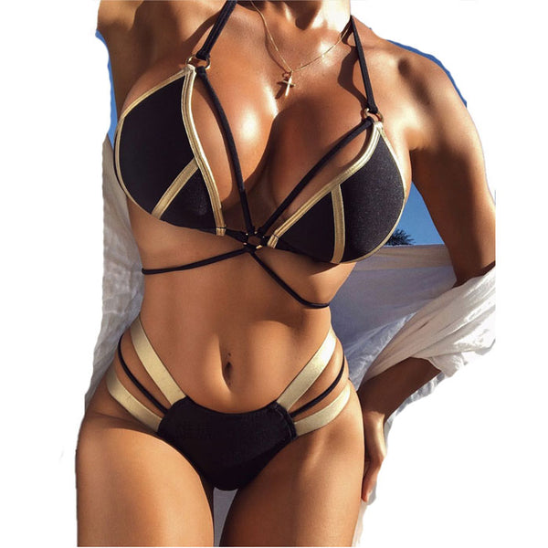 Fashion Bronzing Splice Bikini Ladies Sexy Women Summer Swimsuit
