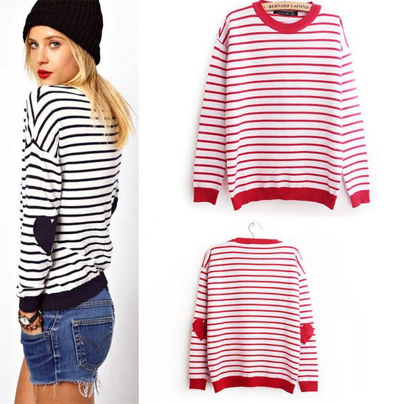 Unique Love Sleeve Embroidered Striped  Sweater&Cardigan For Big Sale!- Fowish.com