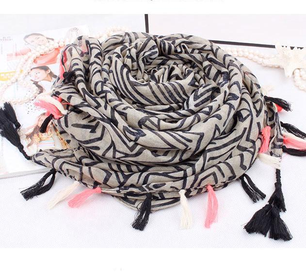 New Stripe Geometry Shawl Fringed Infinity Scarf - lilyby