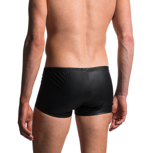 Sexy Man Night Club Shorts Panties Penis Shape Underwear Black Leather Men's Lingerie