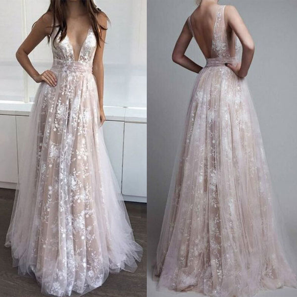 Elegant Prom Dress Hook Flower Hollow Sexy Lace Deep V Long Party Dress