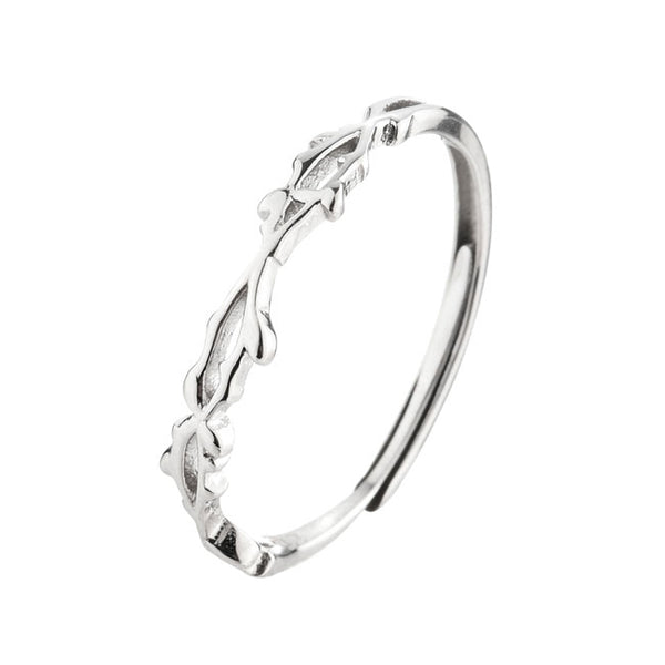 Fashion Silver Thorns Open Adjustable Open Female Ring