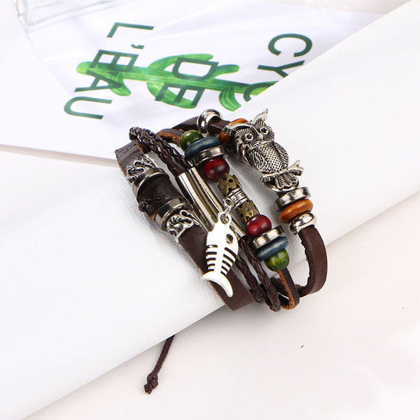 Retro Leather Multi-layer Alloy Owl Fish Beaded Woven Bracelet