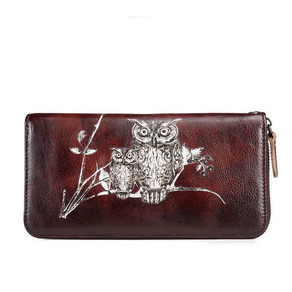 Retro Long Wallet Phone Purse Cowhide Large Owl Branch Handmade Clutch Bag