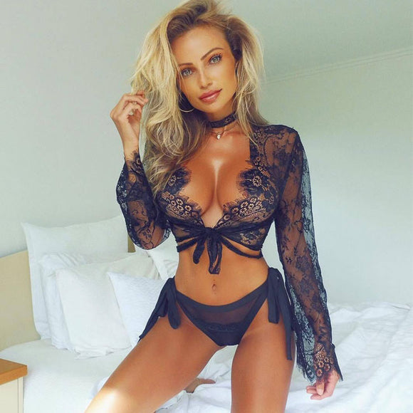 Sexy Mesh Tops Eyelash Lace Long-Sleeved Hollow Pajamas Women Intimate Lingerie