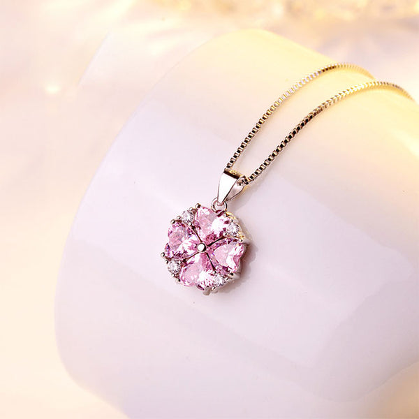 Fashion Women's Clavicle Silver Necklace Love Heart Shape Crystal Pendant Necklace