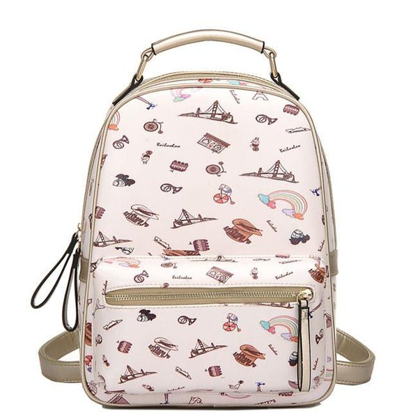 Original Cartoon PU Tower Students Schoolbag Bridge Rainbow Zipper Backpack For Big Sale!- Fowish.com