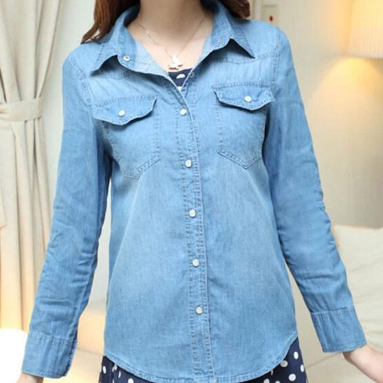 New Fashion Gradient Washed Denim Slim Shirt - lilyby