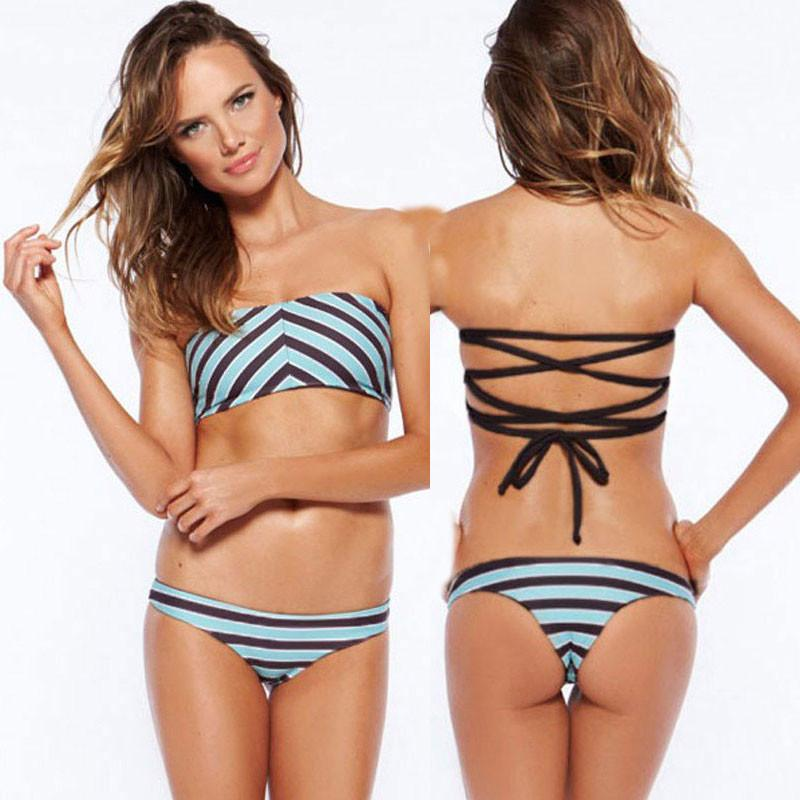 Wavy Striped Print Bikinis Set Bandage Swimwear Beach Bathing Suit For Big Sale!- Fowish.com
