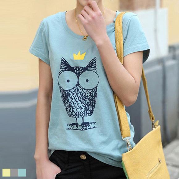 Cheap Summer Crown Owl Cotton T-shirt - lilyby