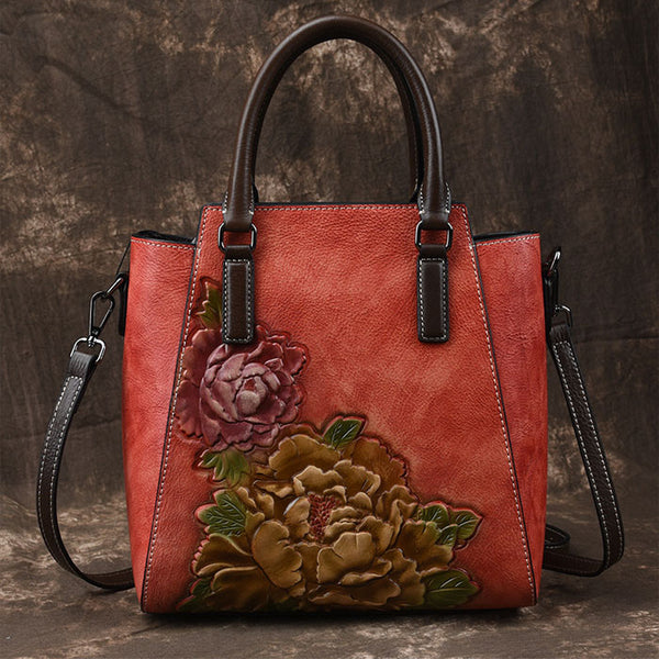 Retro Peony Handbag Leisure Flower Handmade 3D Leather Shoulder Bag