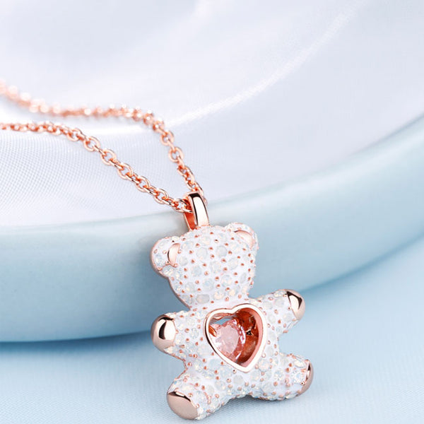 Cute Heart Jewelry Pink Diamond Lover Gift Women Necklace Teddy Bear Pendant Silver Necklace