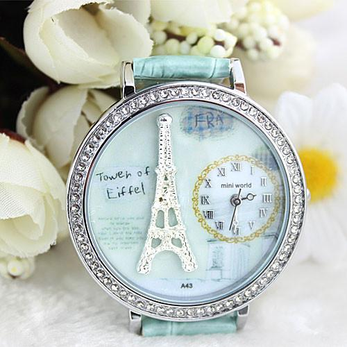 Polymer clay cartoon rhinestones romantic Paris Crystal Tower retro watch - lilyby