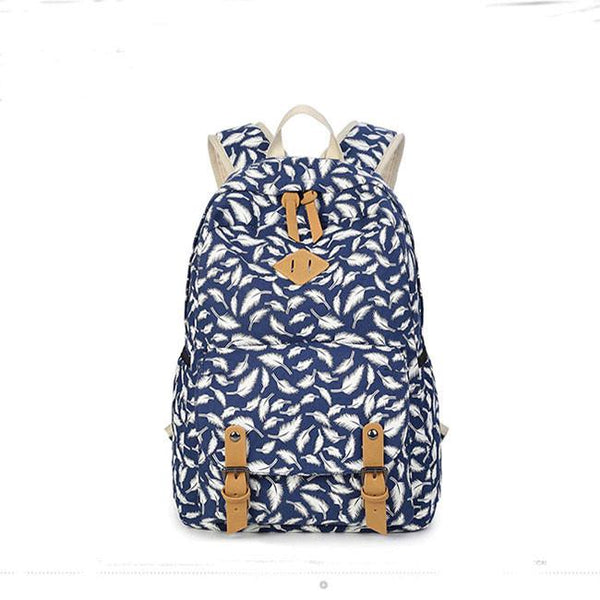 Fashion College Canvas Women's Backpack Leisure Polka Dot Printing Rucksack For Big Sale!- Fowish.com