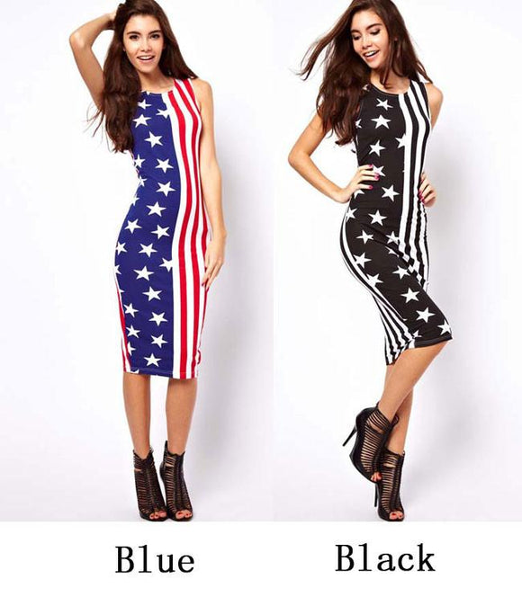 Unique American Flag Stars Stripeds Printed Sleeveless Dress For Big Sale!- Fowish.com