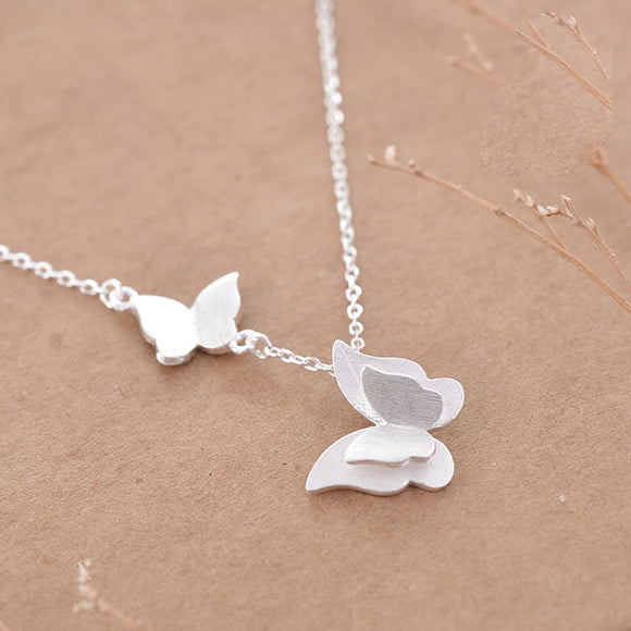 Cute Double Butterfly Silver Lover Gift Women Necklace