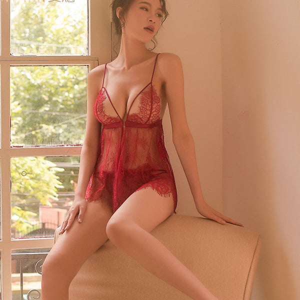 Sexy Women Nightgown Include Pants Red Lace Nightdress Large Sling Intimate Lingerie