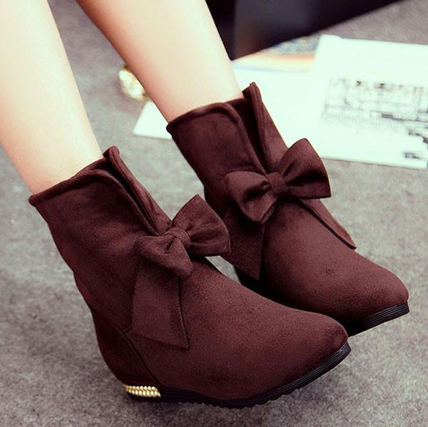 Sweet Suede Bowknot Knot Female Ankle Boots For Big Sale!- Fowish.com