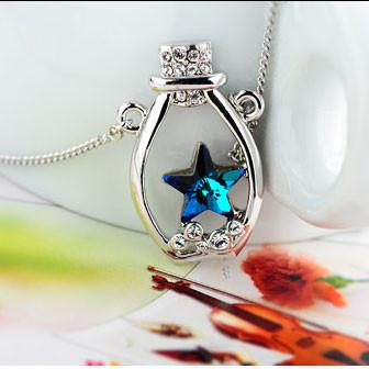 Star Rhinestone Lucky Bottle Pendant Necklace For Big Sale!- Fowish.com