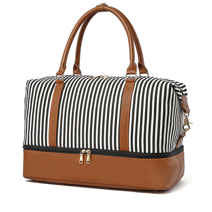 Leisure Women's Travel Tote Striped Splice Shoulder Bag Canvas Luggage Bag Handbag