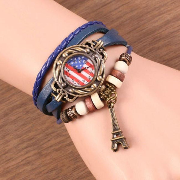 Vintage American Flag Leather Strap Wrist Watches Rope Weave Eiffel Tower Bracelet Watch For Big Sale!- Fowish.com