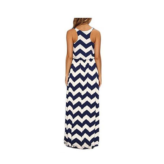 Wavy Stripes  Package Hip Sleeveless Long Dress For Big Sale!- Fowish.com